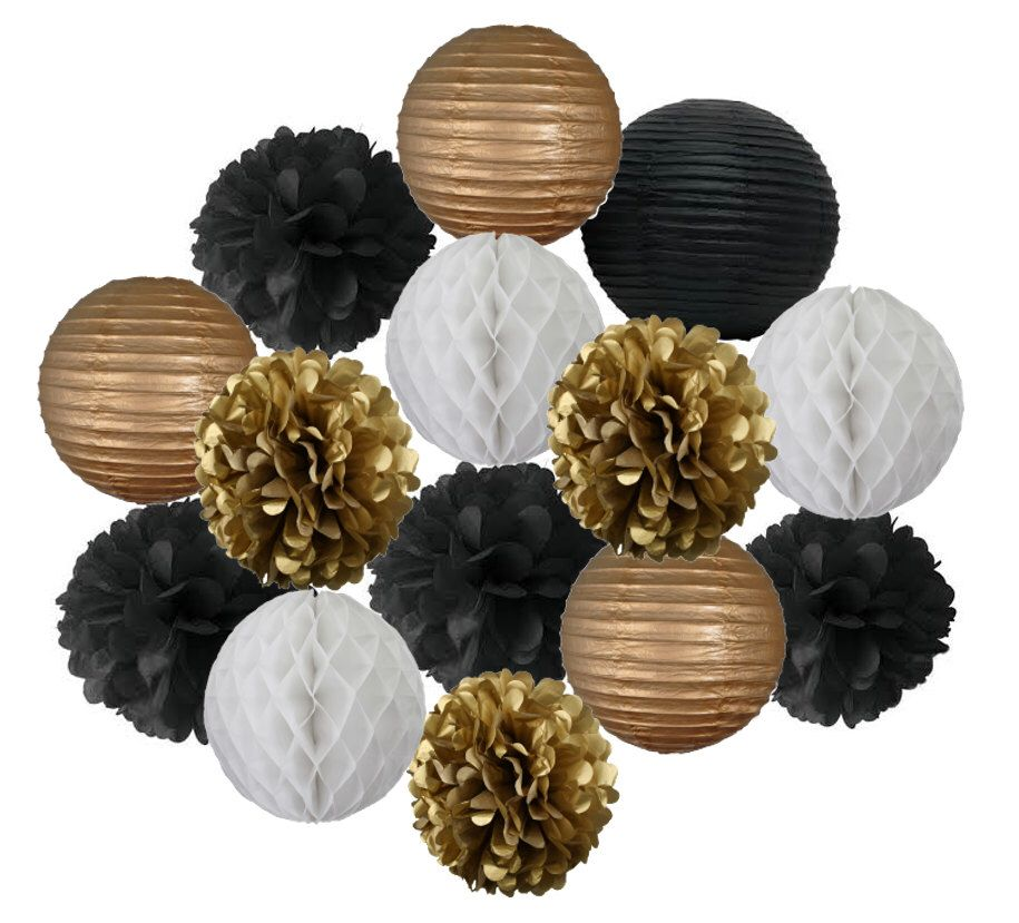 Black, White and Gold Paper Pom Pom, Honeycomb Ball, Lantern, Tissue Paper, Hanging Decoration Mix for Baby Shower, Party, Wedding by LittlePartyEventCo on Etsy https://www.etsy.com/listing/241690375/black-white-and-gold-paper-pom-pom