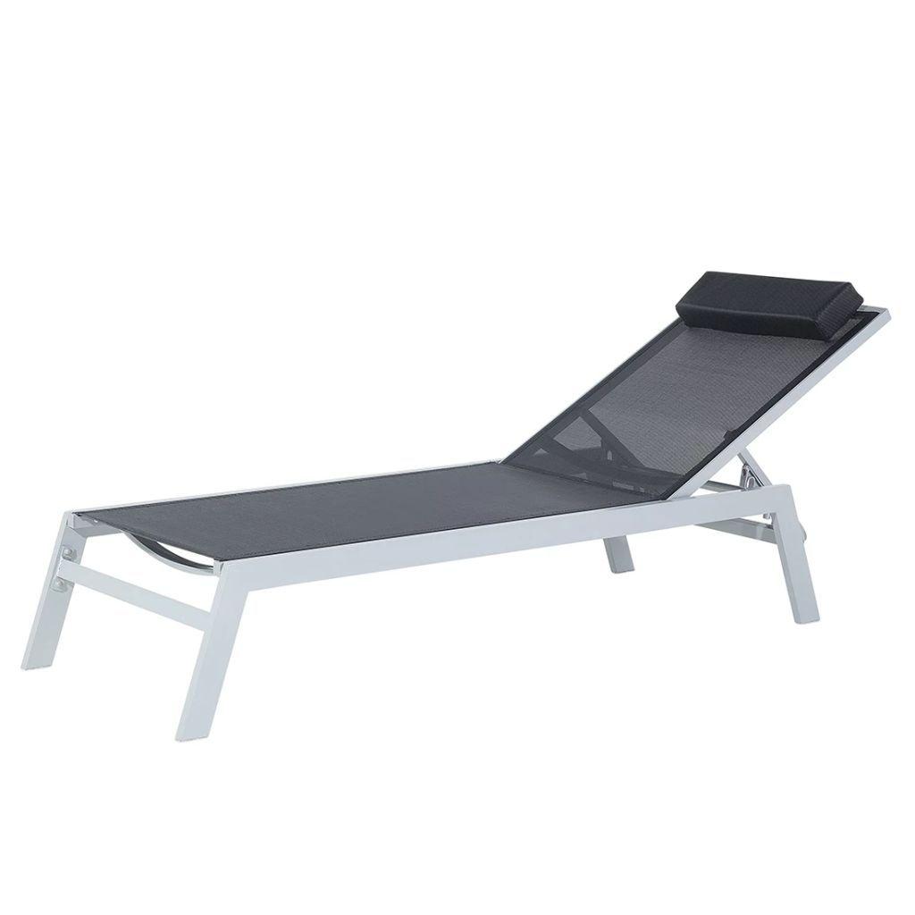 Beliani Catania Ii Ligstoel Aluminium Zwart Ligstoel Moderne Patio Ontspanningsruimte