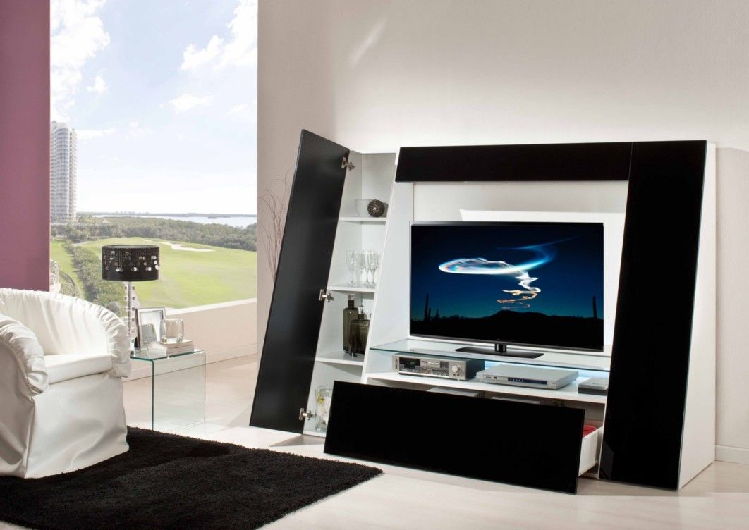 Appliances modern and futuristic entertainment unit with for Modern tv unit design ideas