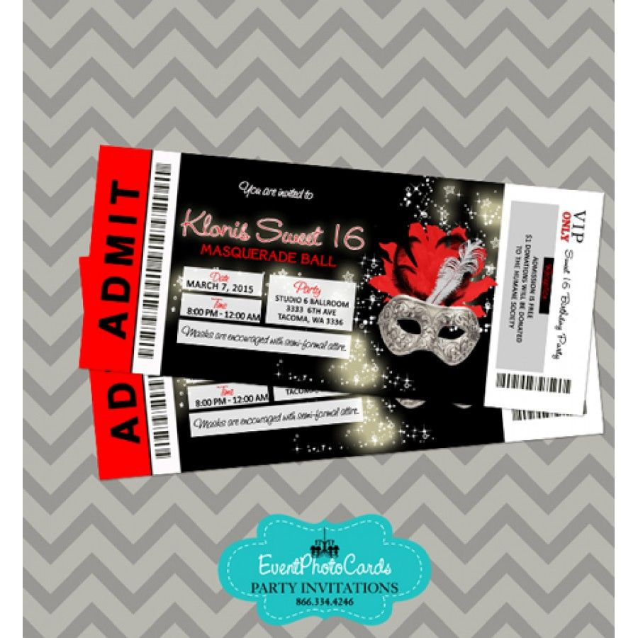 Silver Red & Black Invitations Ticket - Masquerade | Masquerade ...