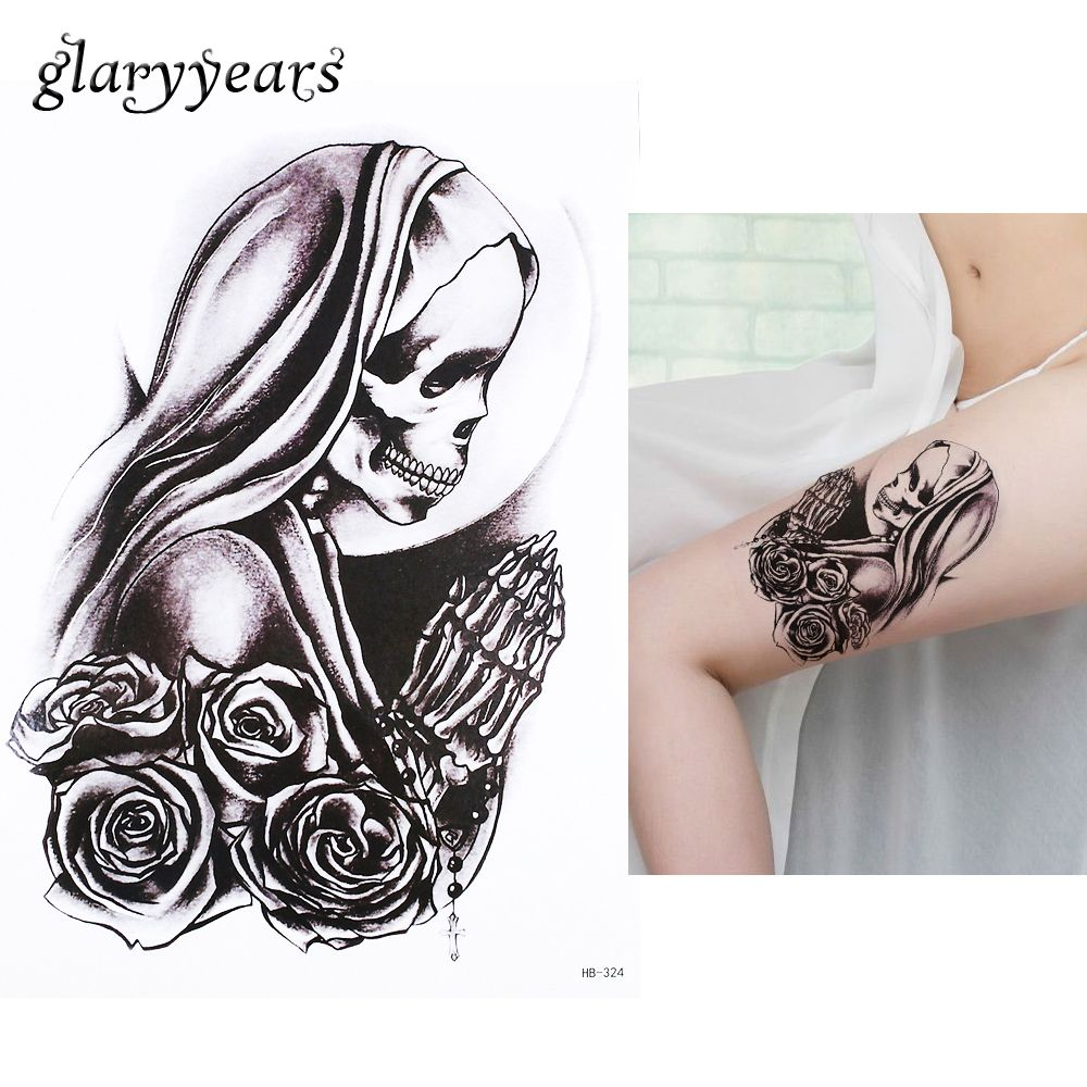 Tattoos for men praying hands pc body art beauty makeup tatoo temporary believer skull pray