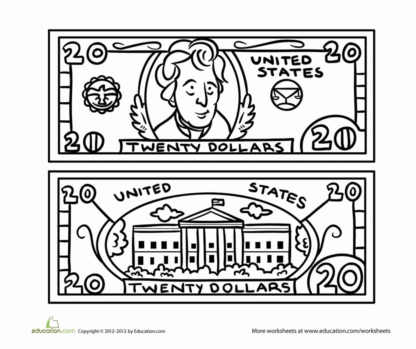 Dollar Bill Coloring Page Unique Twenty Dollar Bill