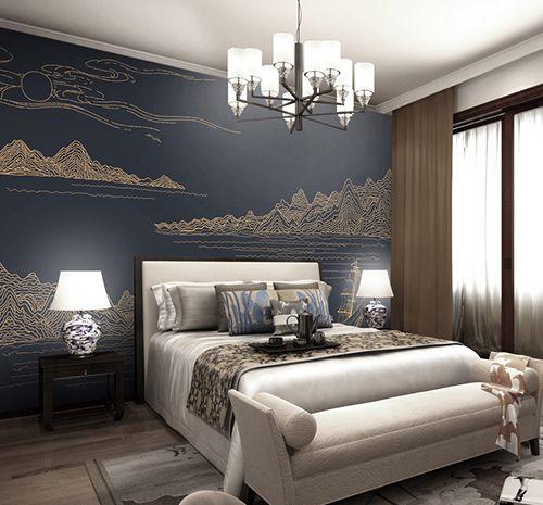 D coration d 39 int rieur style japonais papier peint traditionnel asiatique montagne rivi re - Decoration interieur japonais ...
