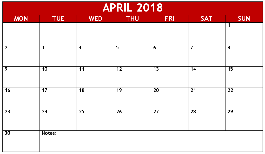 pdf april 2018 monday start calendar