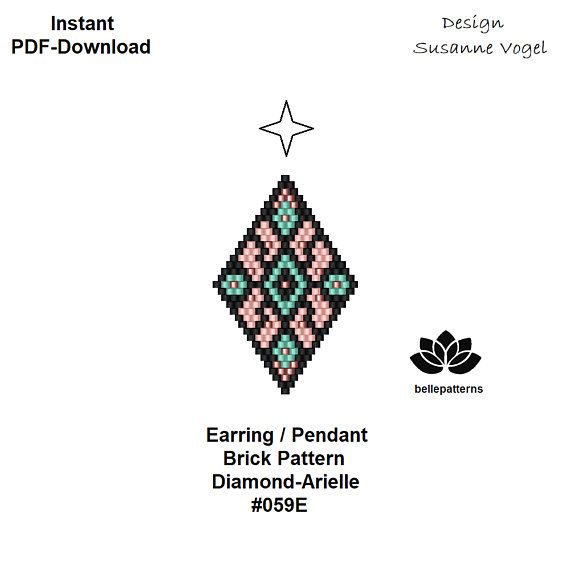beaded earring pattern,brick stitch,pdf-download,#059E,DIY