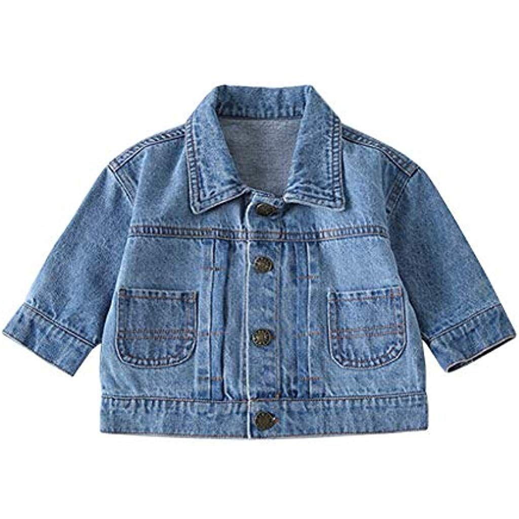 Yiliankeji Baby Jungen Madchen Mantel Jacken 1 6 Jahre Lassig Denim Oberbekleidung Bedruckt Klassisch Jahrgang Lang Mantel Jacke Kleinkinderbekleidung Jacken