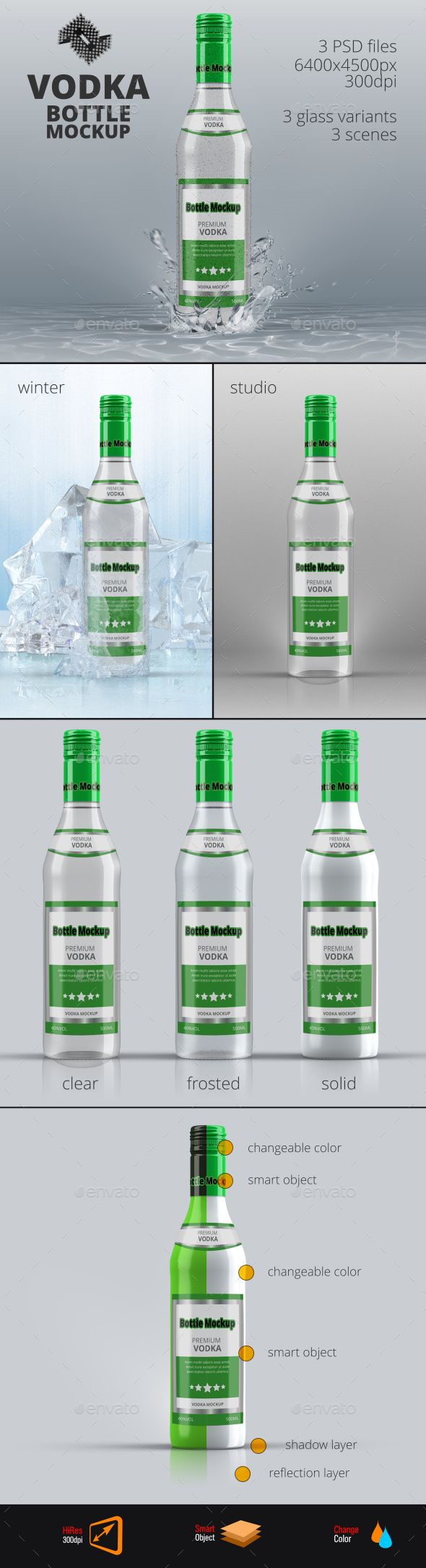Vodka Bottle Mockup #design Download: http://graphicriver.net/item/vodka-bottle-mockup-vol6/13296427?ref=ksioks