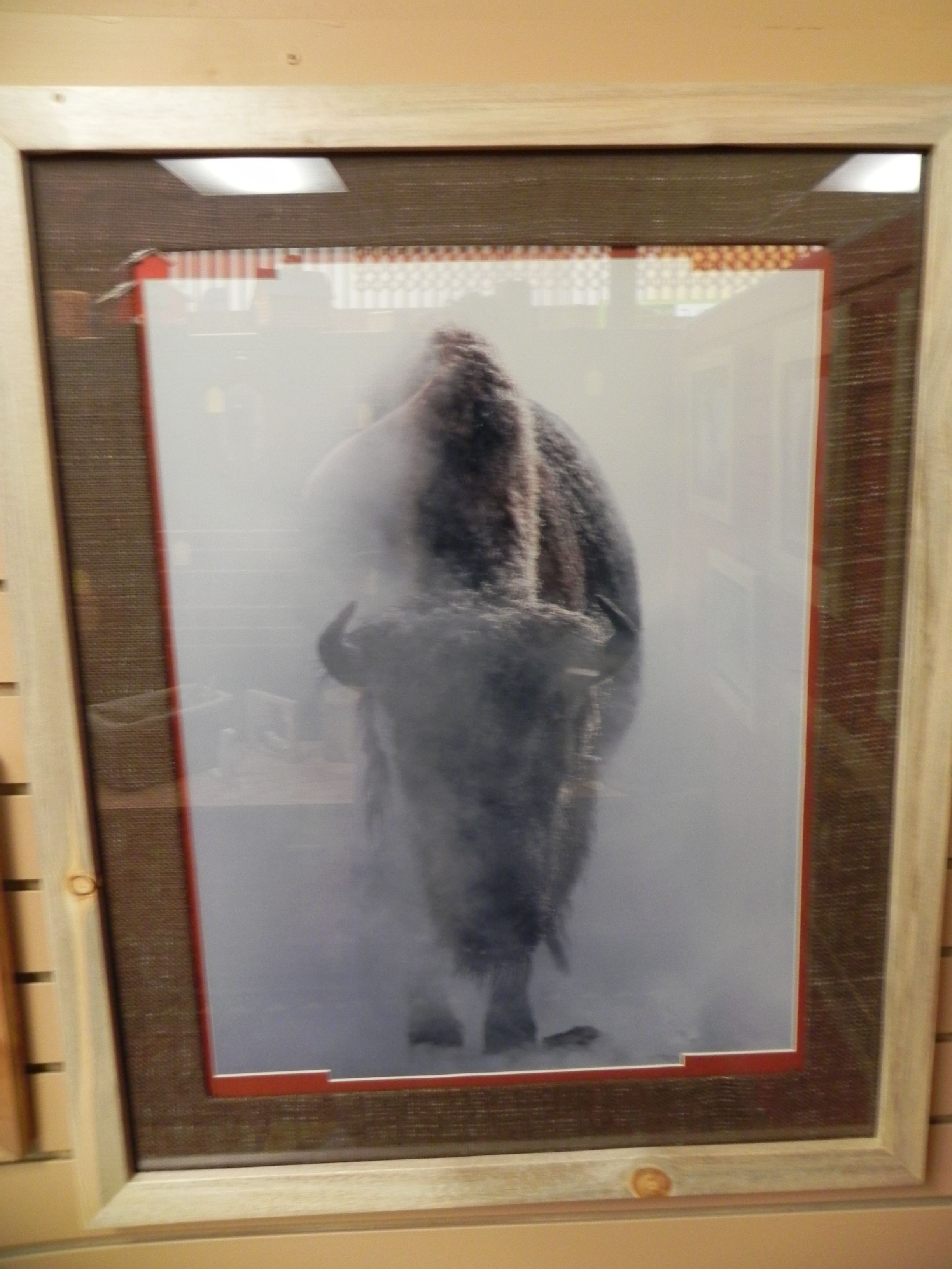 Size 26 X 32 Framed In Beetle Kill Pine Thick Frame Burlap