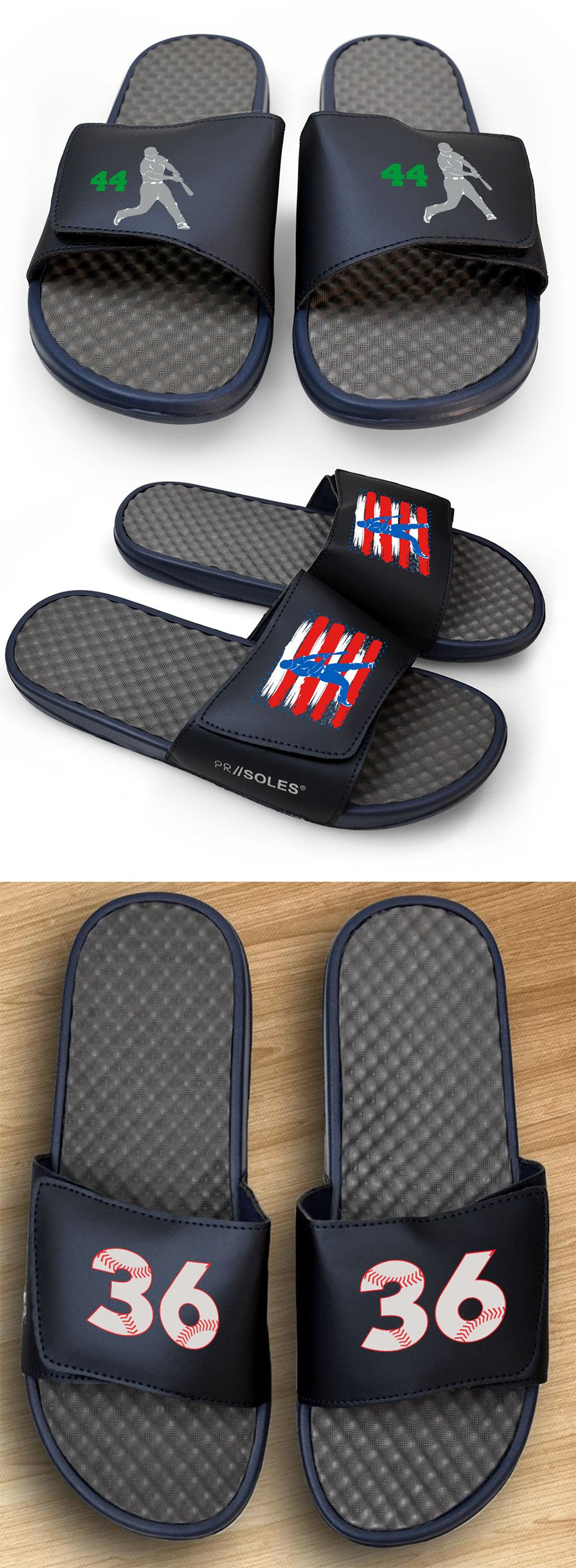 7fedad8ccc8 Treat your feet to a pair of navy baseball slide sandals! We have dozens of