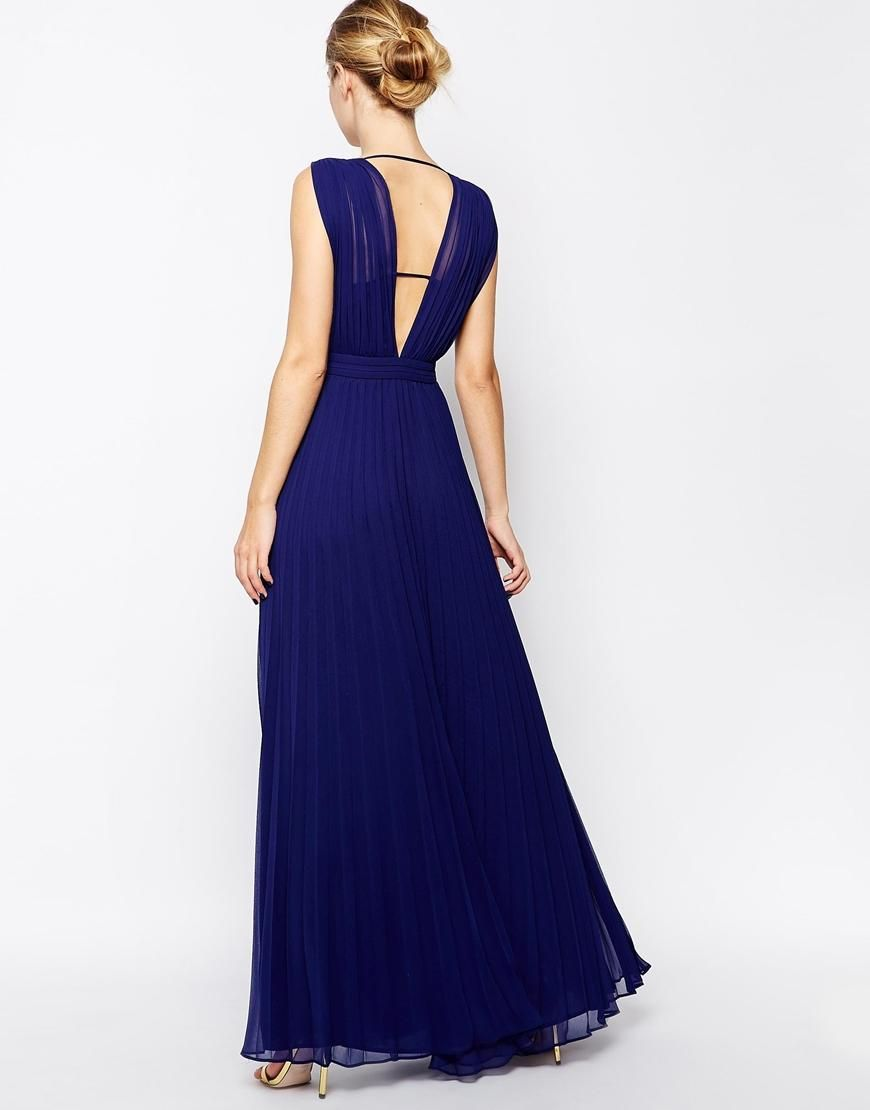 ASOS  ASOS Deep Plunge Super Full Pleated Maxi Dress at ASOS