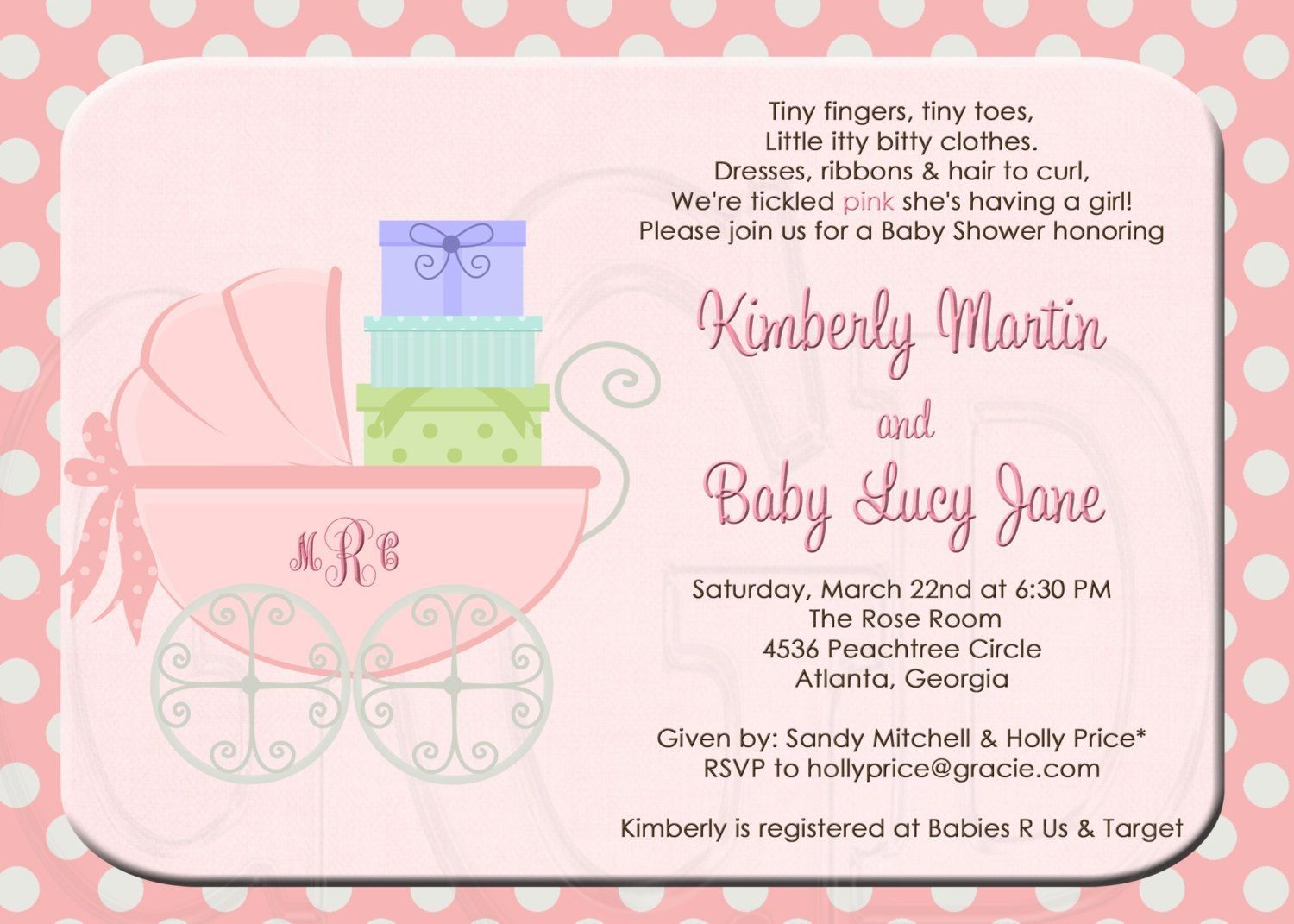 Tickled Pink Baby Shower Invitation Wording | http://atwebry.info ...