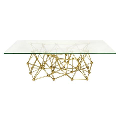 Worlds Away Molecule Gold Leaf Rectangular Coffee Table Luxury