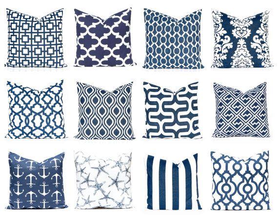 Navy Blue Pillow Covers Decorative Throw Cover Cushions Nautical Pillows Decor Beach