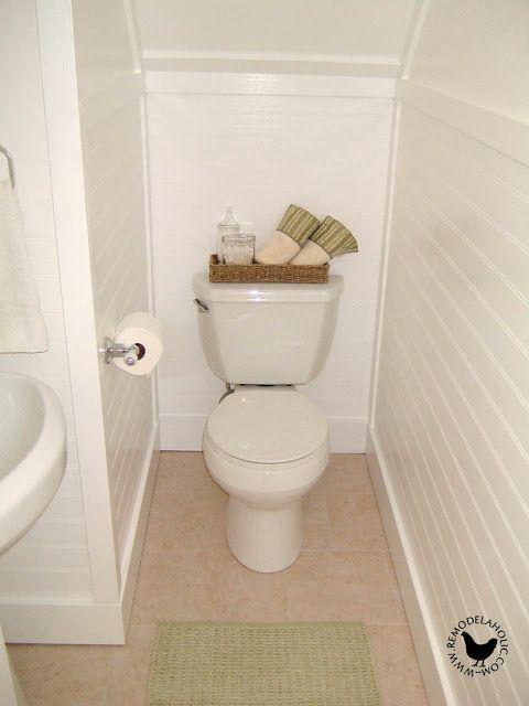 Turn A Closet Into A Half Bath Beadboard Bathroom Beadboard Wainscoting Bathroom Installation