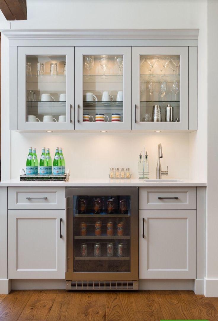 Minimalist kitchen design with beverage wet bar ideas white washed