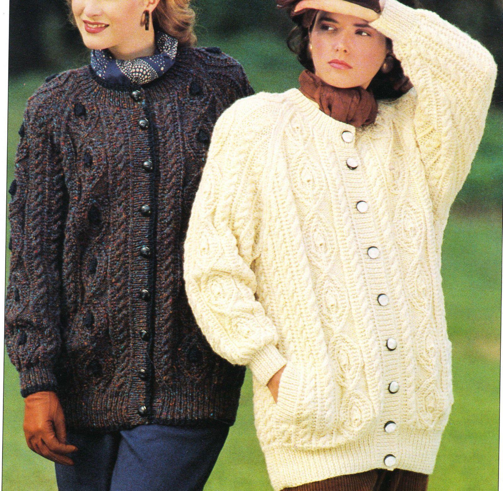 Knitting PATTERN -Ladies Aran longer length Aran cardigan ...