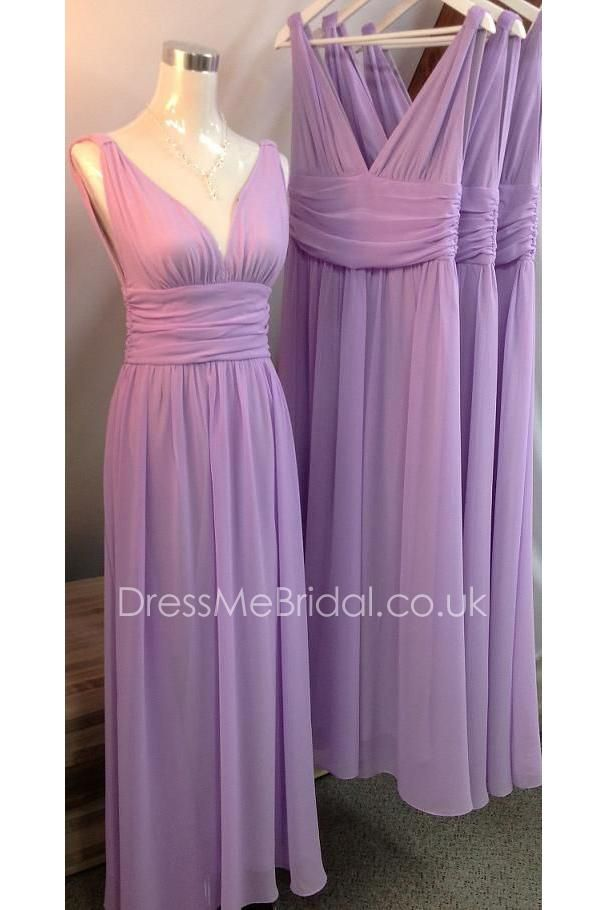 plunging v neck sleeveless pleated empire a-line long lilac chiffon ...