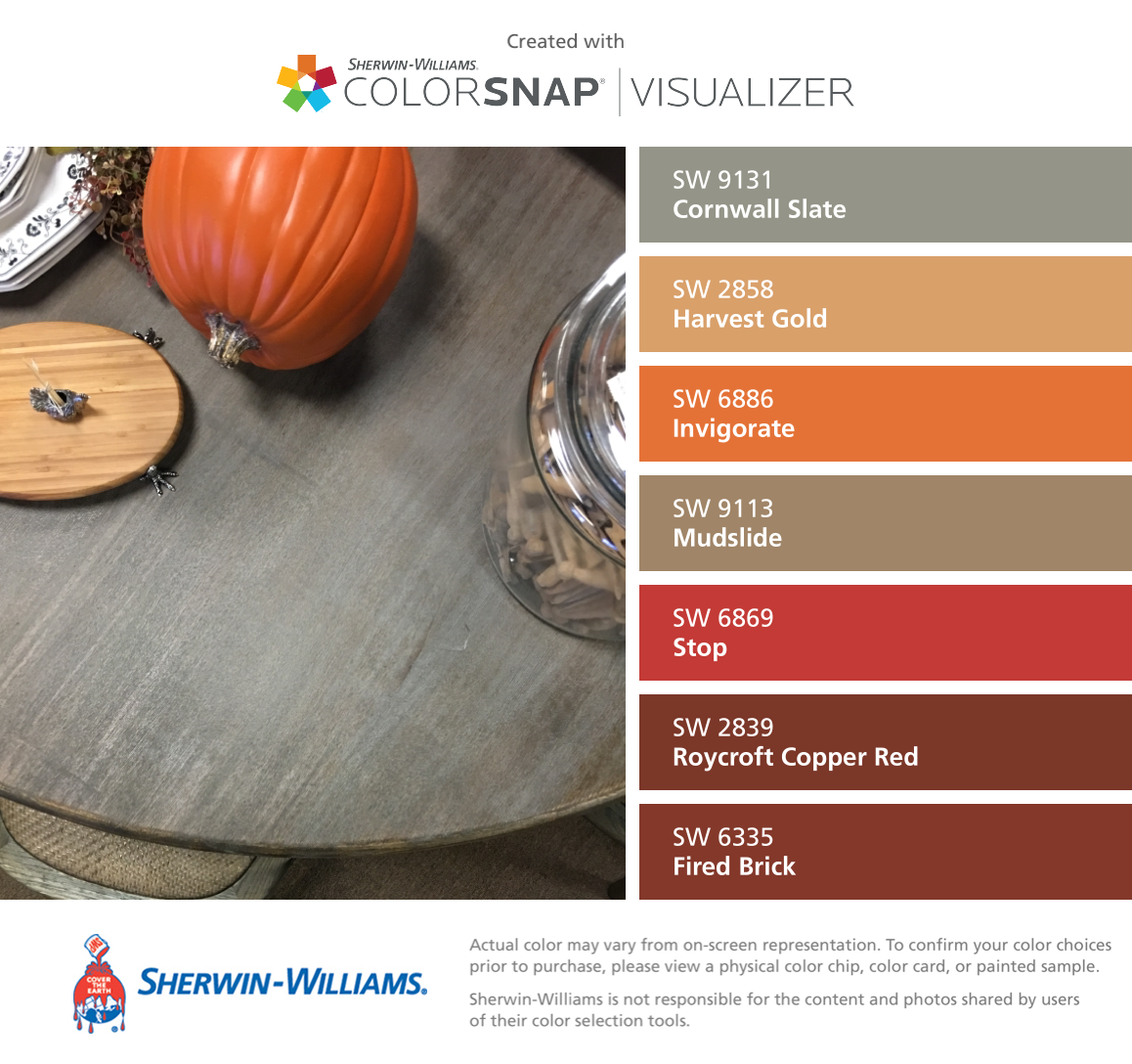 I Found These Colors With Colorsnap Visualizer For Iphone By Sherwin Williams Cornwall Slate Sw 9131 Harvest Gold With Images Paint Color Chart Color Sherwin Williams