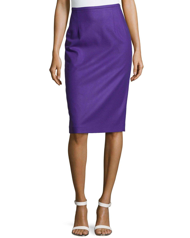 Techno Felt Wool Pencil Skirt, Grape