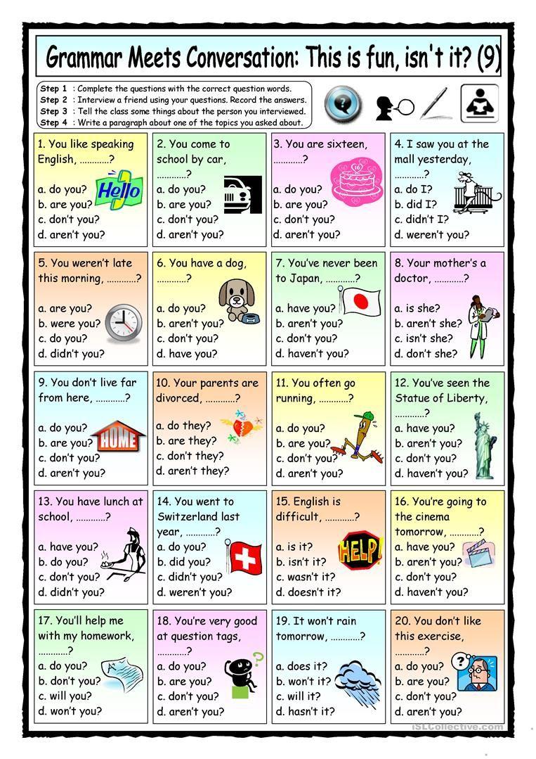 Worksheets Esl Conversation Worksheets grammar meets conversation 9 question tags asking for general information worksheet