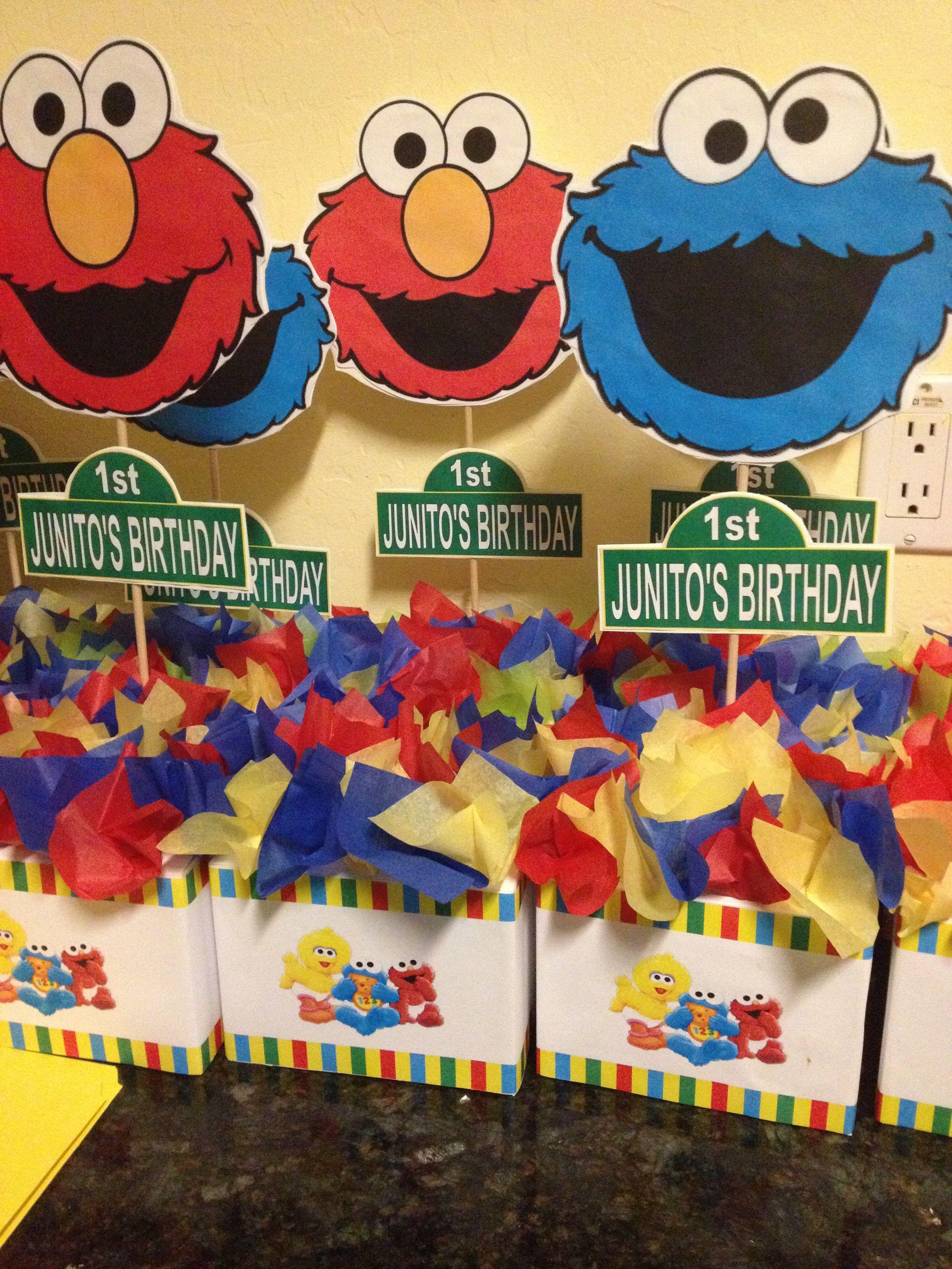 Awesome Sesame Street Centerpieces Made By Me Elmo Birthday Interior Design Ideas Tzicisoteloinfo
