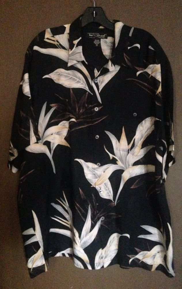 Tori Richard Honolulu 100% Silk Black Floral Hawaiian Shirt Size XL #ToriRichard #Hawaiian