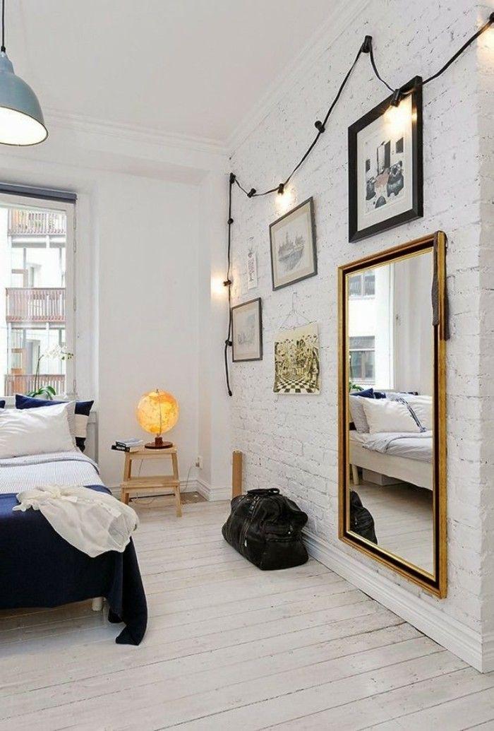 deko ideen schlafzimmer wandspiegel wanddesign hängelampe holzboden