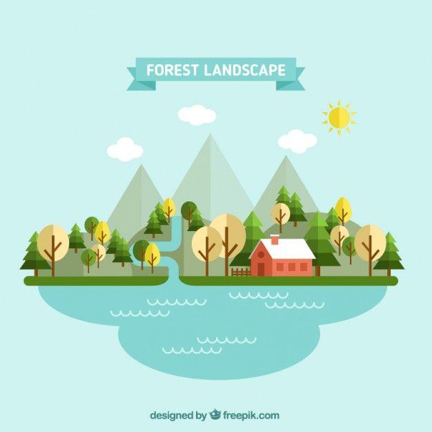 Landscape Illustration Vector Free: Forest Landscape In Flat Design Free Vector