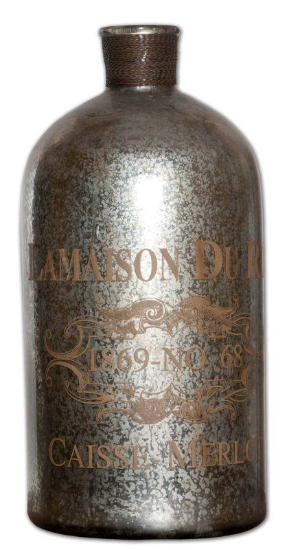 Uttermost 19752 Lamaison Large Mercury Glass Bottle Silver Mercury Glass with Brass Wire Home Decor Accents Vases