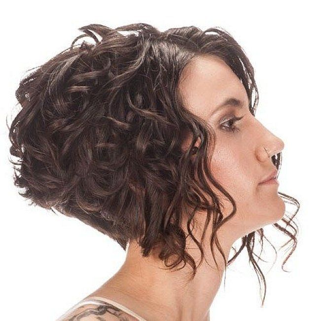 Short Angled Bob Hairstyles For Women With Curly Hair Jpg 645 650 Bob Haircut Curly Inverted Bob Hairstyles Curly Hair Styles