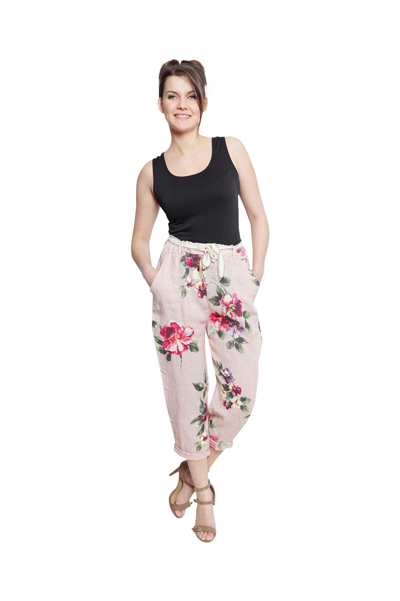 Bella Amore - Linen Floral Capris Italian Linen at All Things Being Eco Sustainable  Womens Fashion and Clothing 839264c71