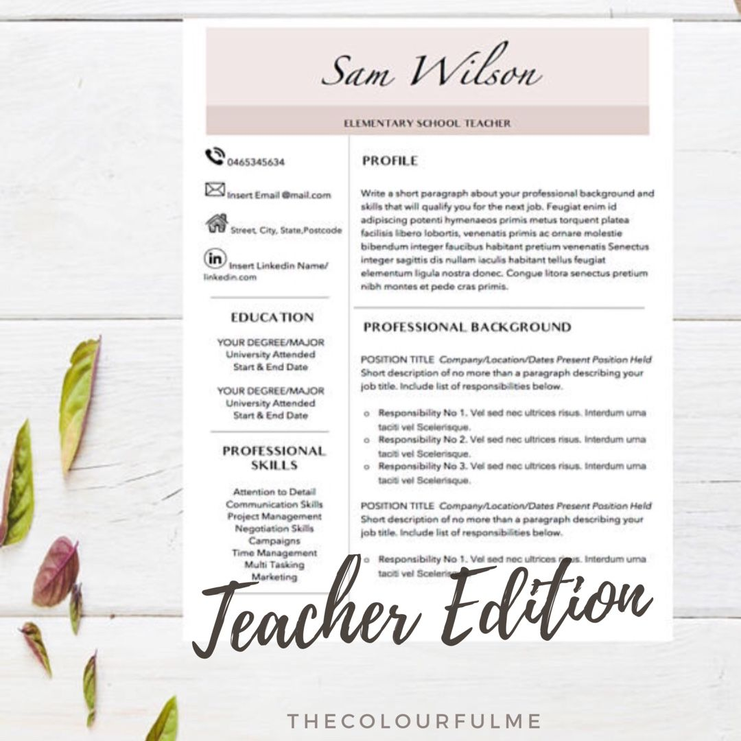 teacher resume template for word