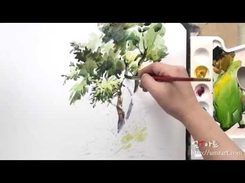"How to paint the tree2 by Um KyungHo - YouTube - fantastic vid of a very fluid painting technique... you have to see the finished project in your head, but allow for the fluidity of painting w/watercolor to have ""it's way"", lol... you can't read the comments, but still an excellent video! :)"