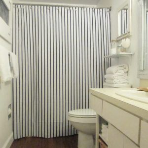 Gray Vertical Striped Shower Curtain