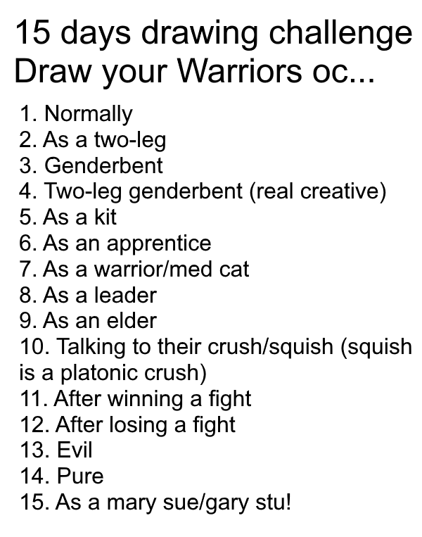 15 Days Drawing Challenge Warriors Style By Keylimejazy On