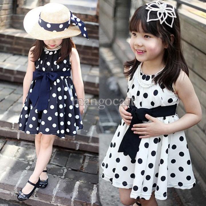 Alta Qualidade ! 2014 de Nova Baby Girl Kids Summer vestidos de bolinhas bowknot mangas vestido de princesa B7 19859 6.20