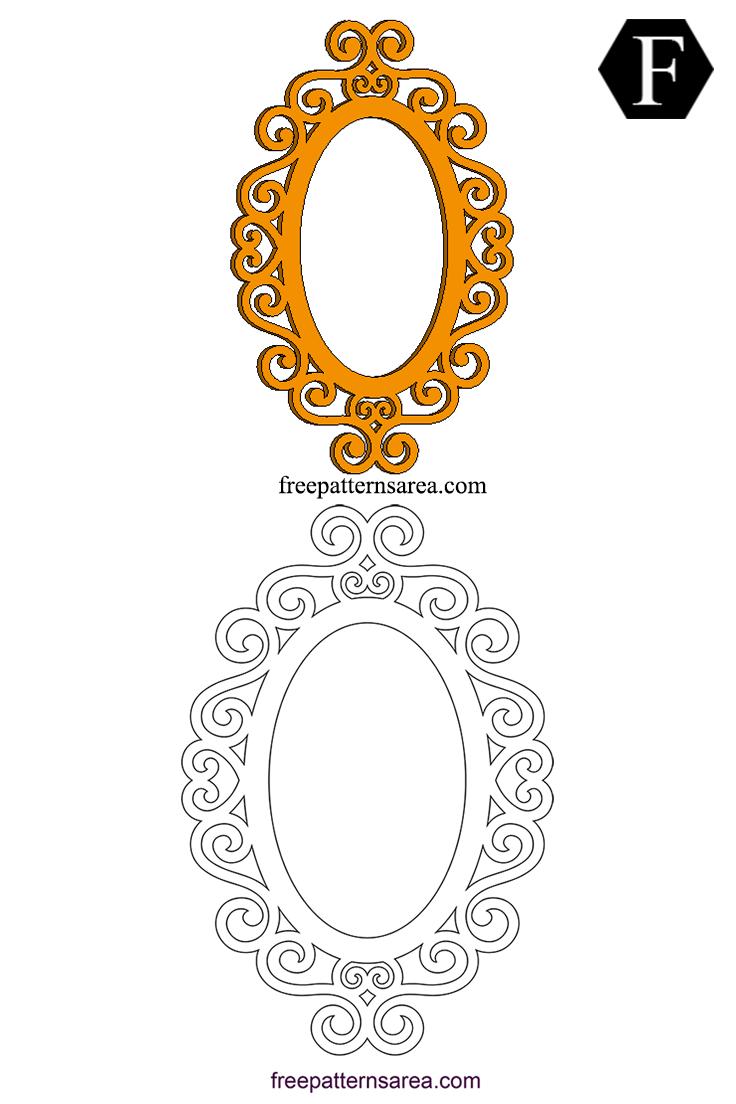 Retro Ornate Oval Frame Cutting Pattern