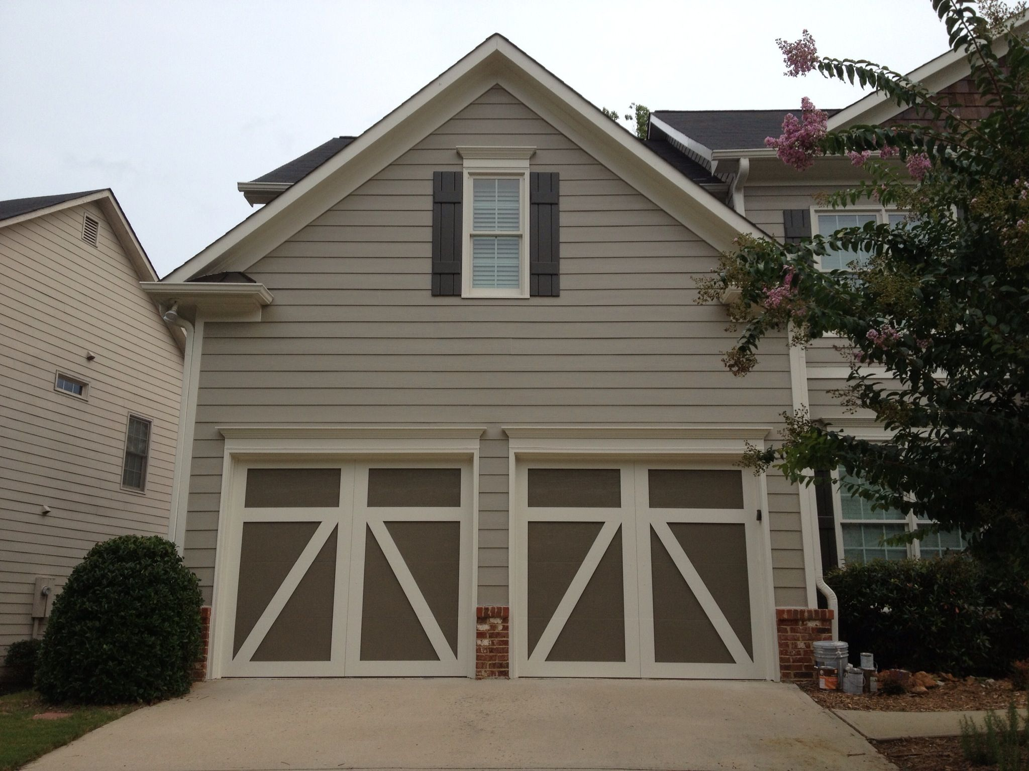 New paint all sherwin williams siding intellectual gray 7045 trim natural choice 7011 inside garage doors anonymous 7046 shutters urbane
