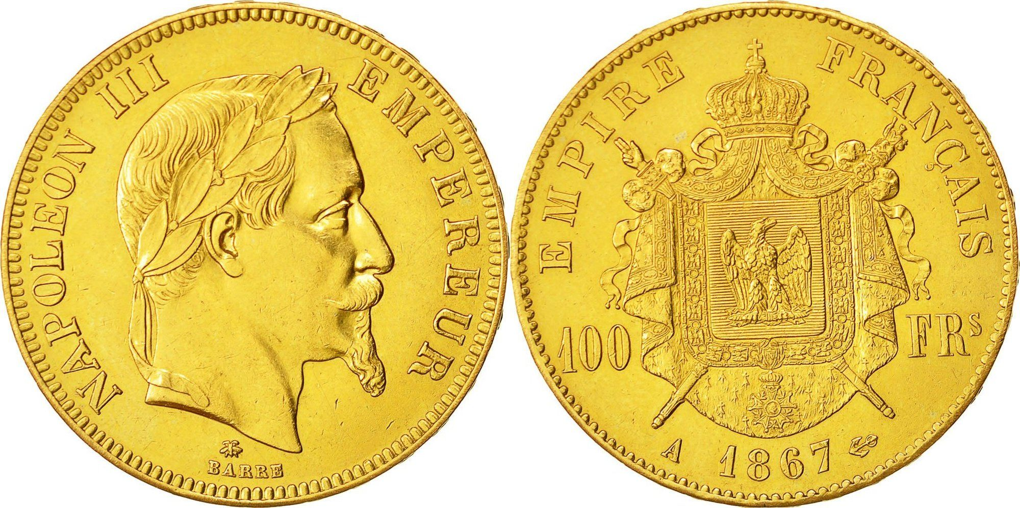 100 Francs 1867 A Frankreich Münze Napoleon Iii Paris Mashops