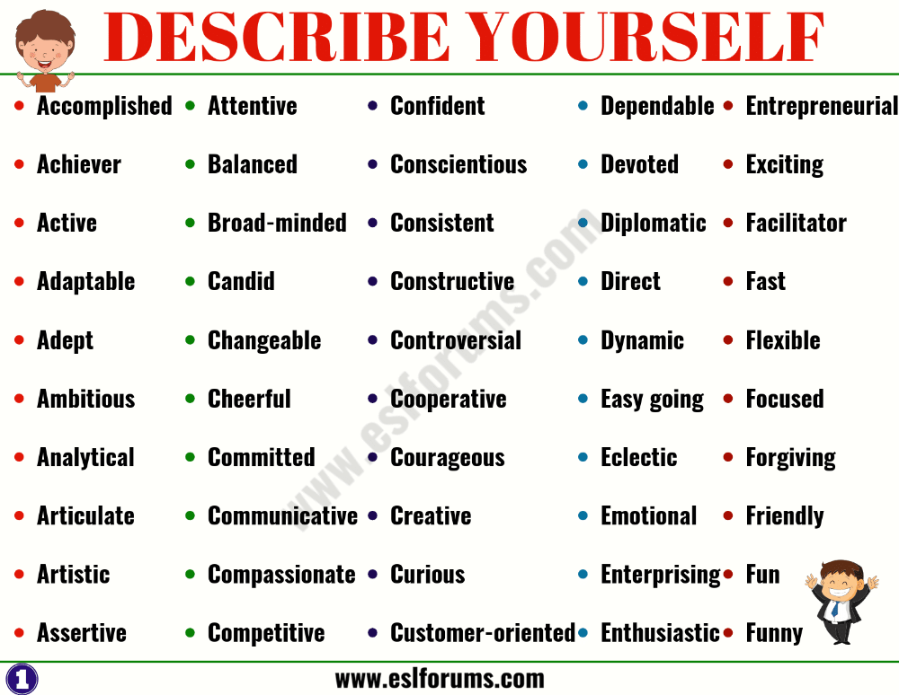 Top 150 Best Words To Describe Yourself Esl Forums Words To