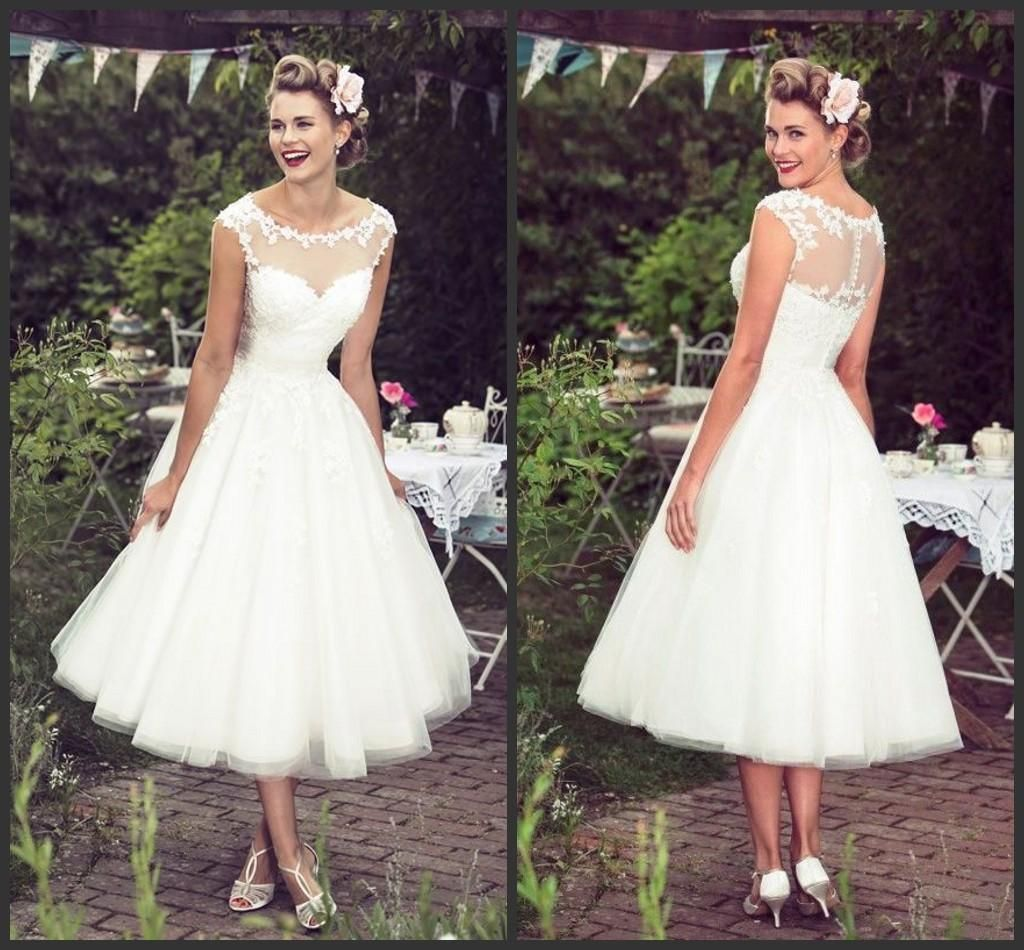 Vintage garden wedding dresses tea length tulle lace plus size ivory