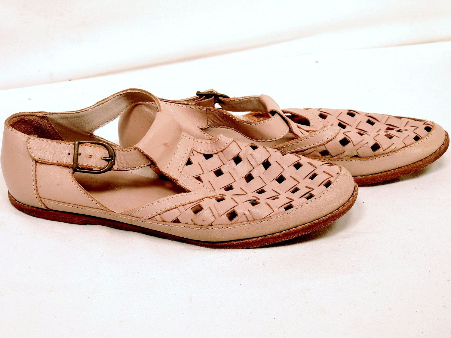 Vintage Pink Bass Woven Leather Shoes Size 8.5. $38.00, via Etsy.