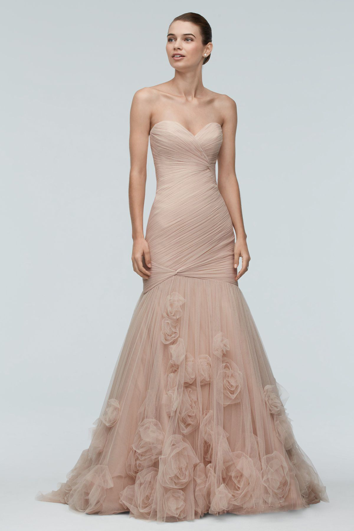 Watters Brides Starla Gown in Rose Gold with Rosettes