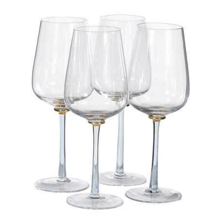 71d8efb35e80 Set Of 4 Smoked   Gold Stem Red Wine Glasses