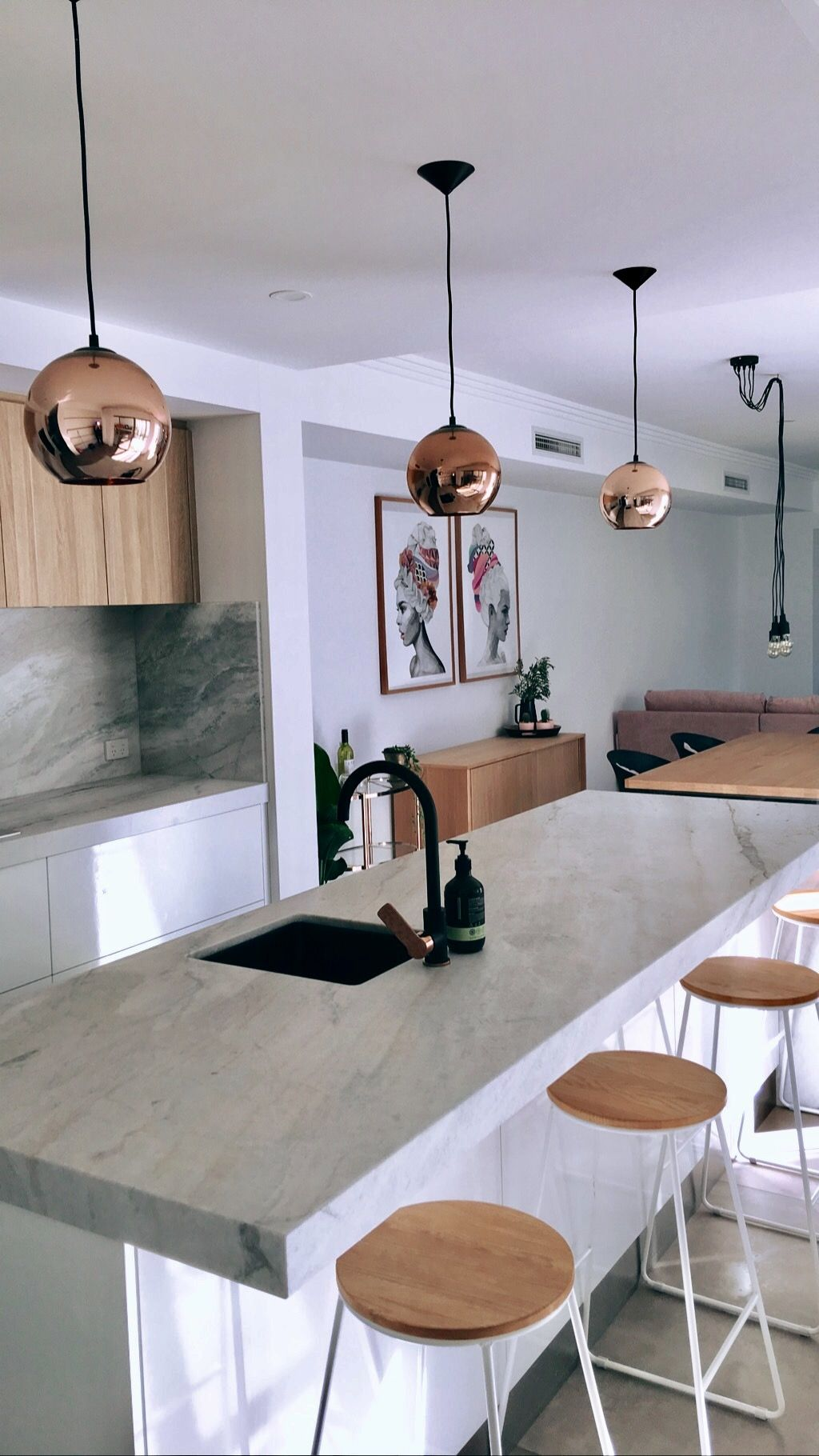 Marble Rose Gold And Oak Modern Kitchen With Matte Black Taps