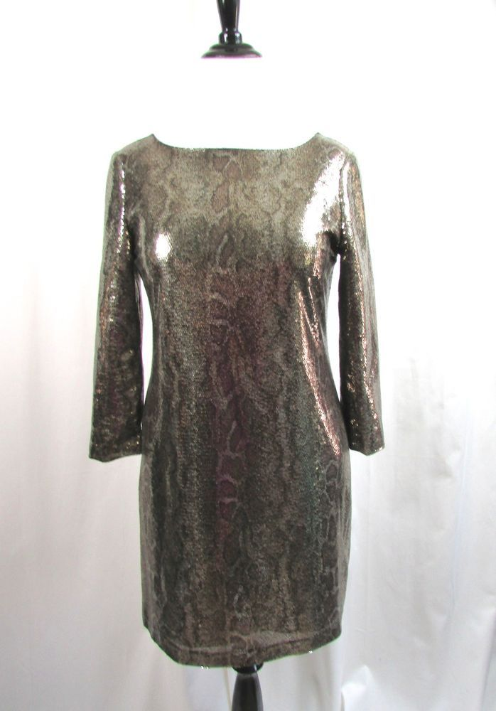 f1888ed2 T Tahari Snakeskin Gold Sequin Cocktail Dress Size 12 Petite 12P Excellent # Tahari #Cocktail