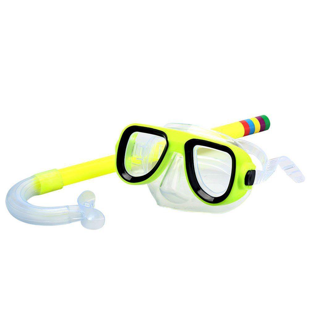 KUYOU Kids//Children Snorkel Set Swimming Goggles Semi-Dry Snorkel Equipment for Boys and Girls Junior Snorkeling Gear Age 4 Plus