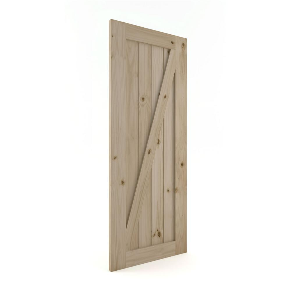Eightdoors Z Frame Barn Knotty Pine Wood Interior Slab Door 84 X 36 X 1 3 8 In Rm138880058436352z The Home Depot Interior Barn Doors Slab Door Barn Door