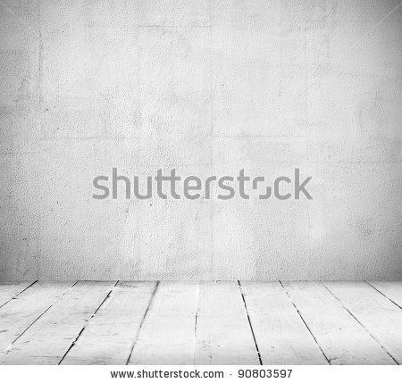 stock photo : Empty a white Interior of vintage room without ceiling from gray grunge stone wall and old wood floor. Pattern gallery to the exhibition as perfect background for your concept or project. Realistic 3d
