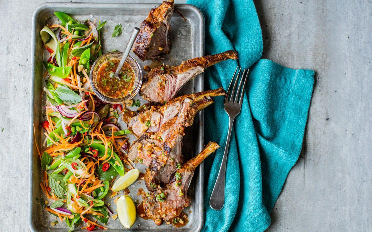 Curry og kokos-marinerte lammekoteletter